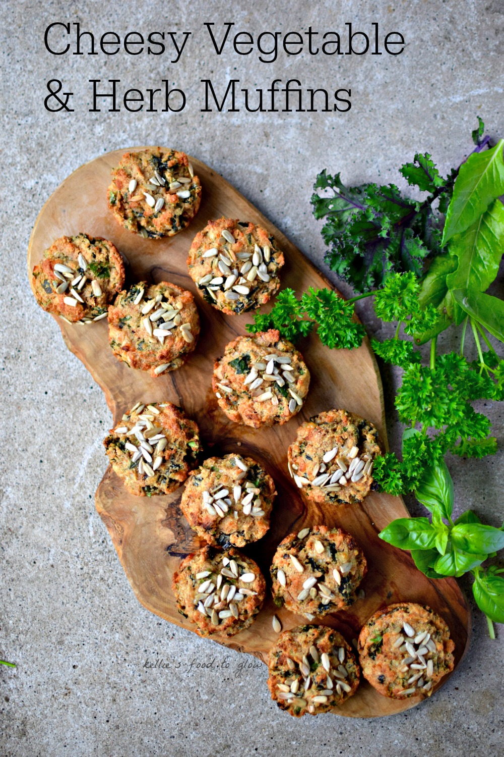 Cheesy Garden Vegetable & Herb Muffins - my nutritious, versatile lunchbox and healthy snack recipe. A perfect protein and fiber-packed mini-meal for traveling, too. kelliesfoodtoglow.com