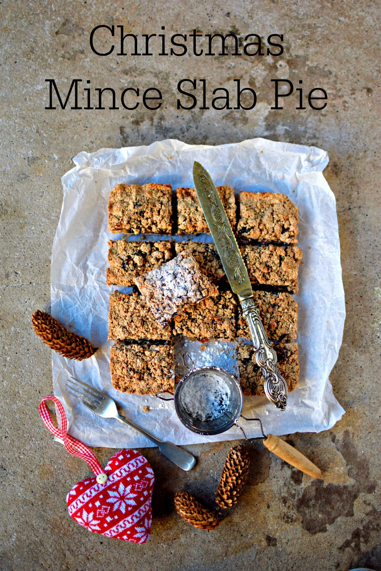 """Making Christmas mince pies is a lot easier using the """"slab pie"""" approach. Easy, vegan and gluten-free - a perfect treat to serve or give as a homemade gift."""