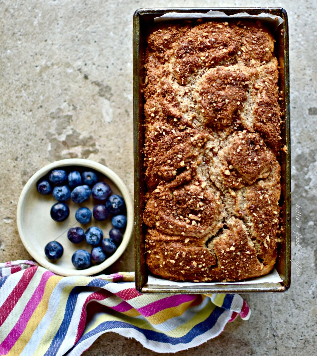 A Scandinavian-influenced coffee cake marbled with a deliciously crunchy mixture of pecan nuts, warm spices and dark brown sugar, and kept soft with chestnut puree. This easy bake recipe can even be made gluten-free. Mums deserve homemade.