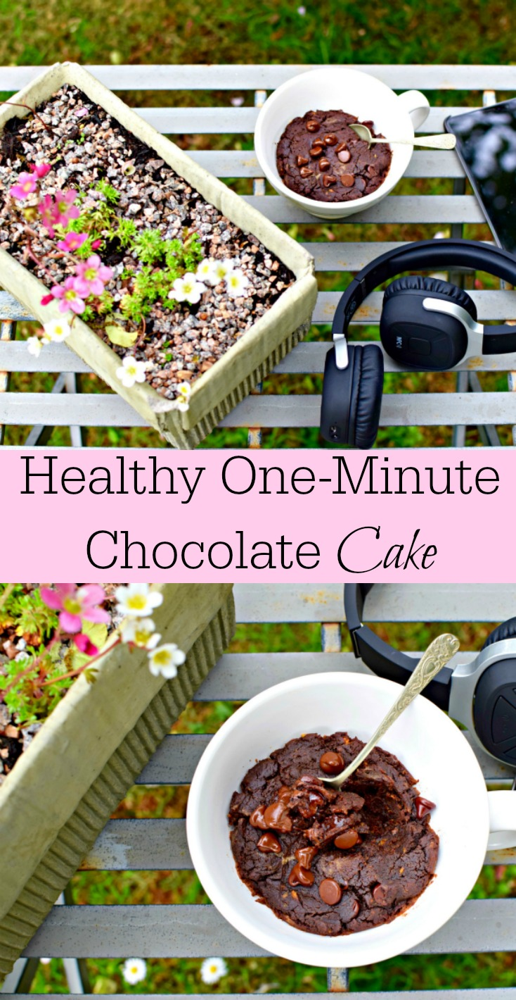 What if you could have a personal sized chocolate cake (ie no sharing) that is not only healthy but also takes all of, oh, one minute to cook? You'd think it was a joke. Well, I'm not joking. Five ingredients, one minute, mainly from your cupboard and ta-da, chocolate cake. And did I mention healthy?
