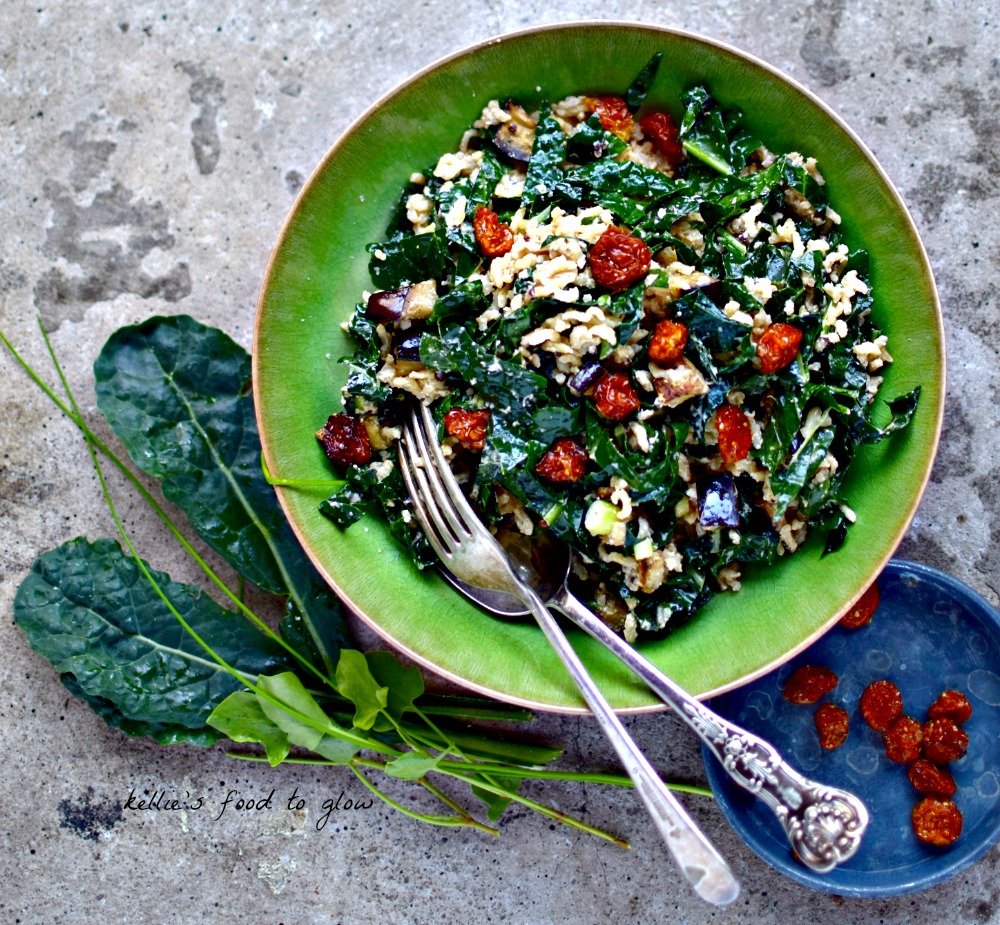 Kale Salad with Roasted Eggplant and Goldenberries