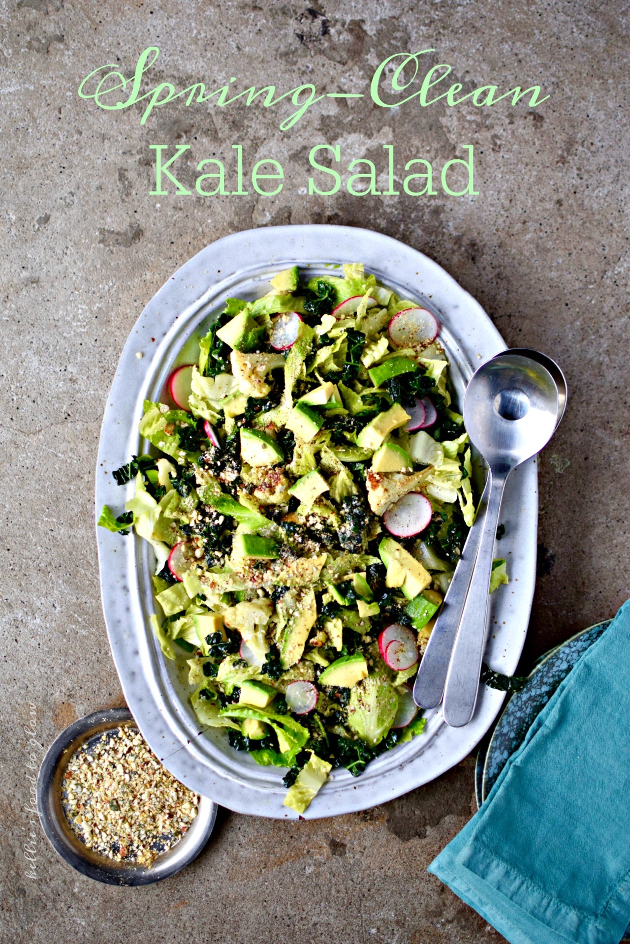 "Not a detox salad but a welcome to spring, summer and salads. Kale can be prepped the day before eating, then topped and dressed with the smoked oil vinaigrette and addictive nutty topping just before serving. This is perfect as a substantial side salad, or topped with your protein of choice for a ""meal salad"". Add new potatoes or asparagus in spring, and pan-roasted sweetcorn in the height of summer."