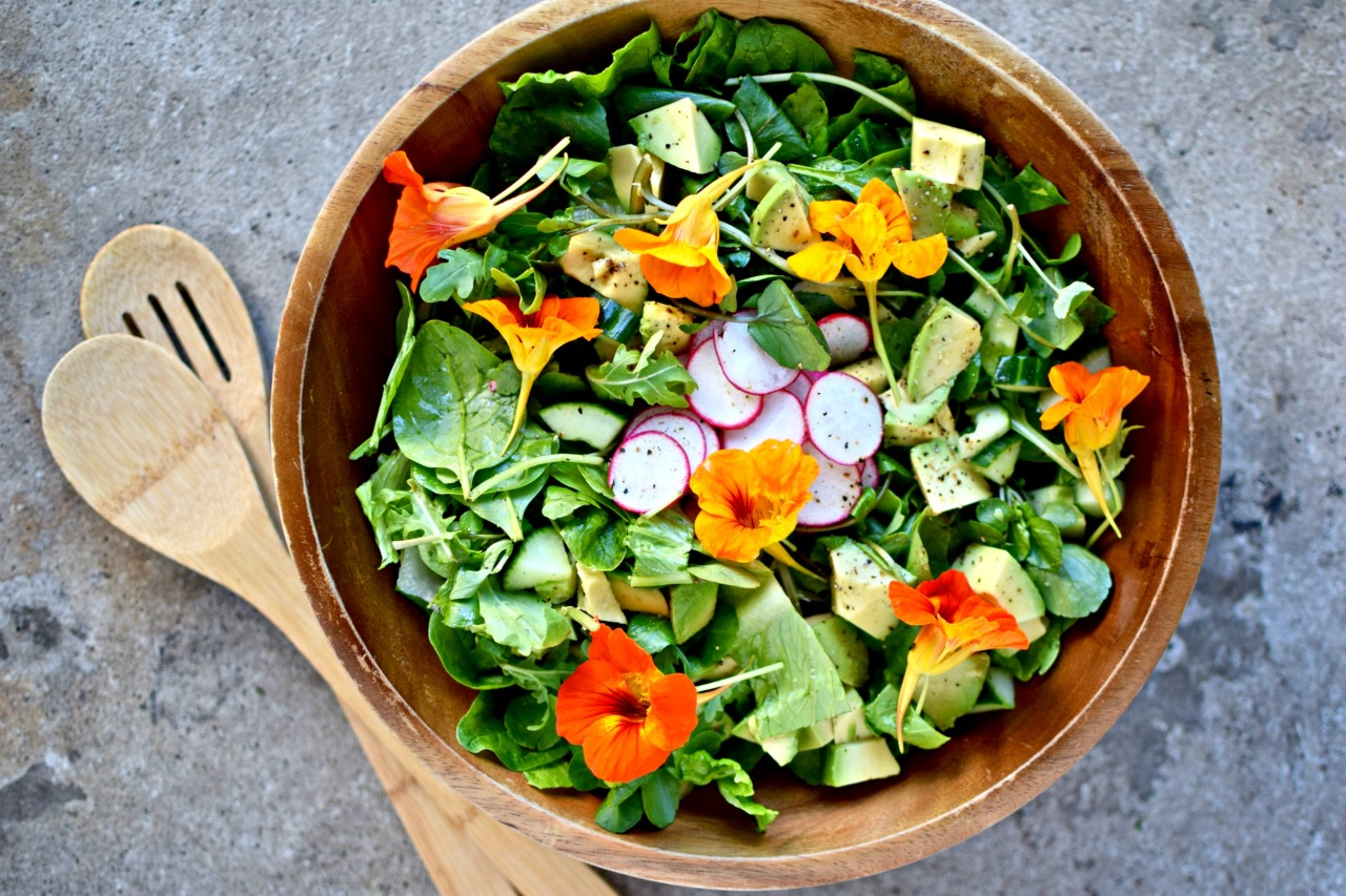 green salad with nasturtiums