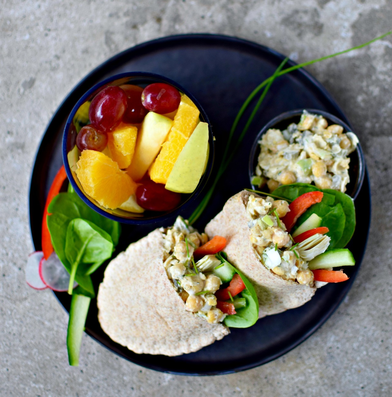 Crushed chickpeas mixed with creamy lower-fat homemade ranch dressing and chopped vegetables make a perfect vegetarian lunch. Try it in pittas, lettuce wraps or even scooped up with baked tortilla chips.