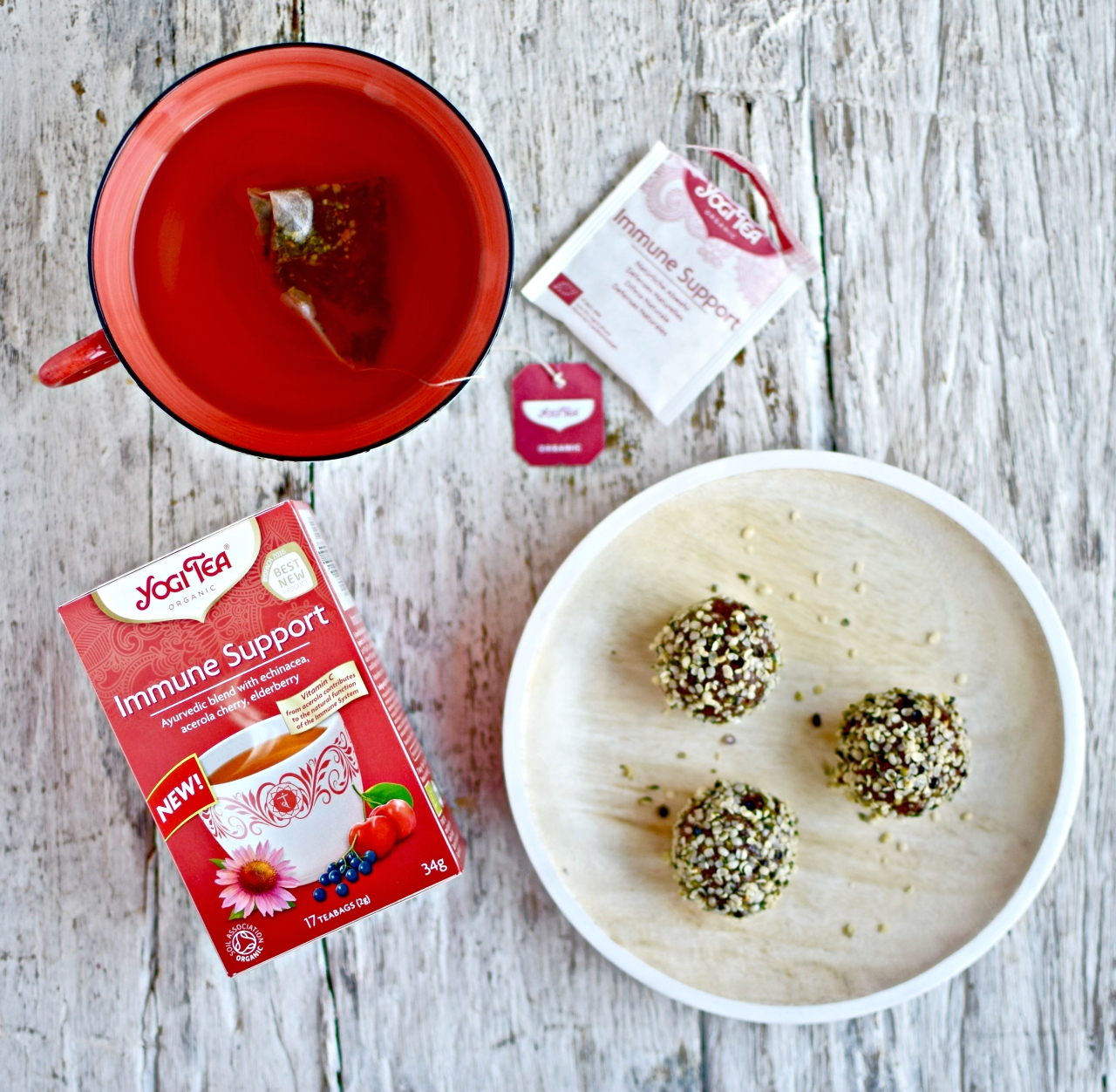 These tea-infused sour cherry energy bites make a brilliant protein-rich and whole food snack. Perfect for those peckish moments, lunchboxes and after exercise. Even for an on-the-go breakfast. A no-sugar-added, paleo recipe.