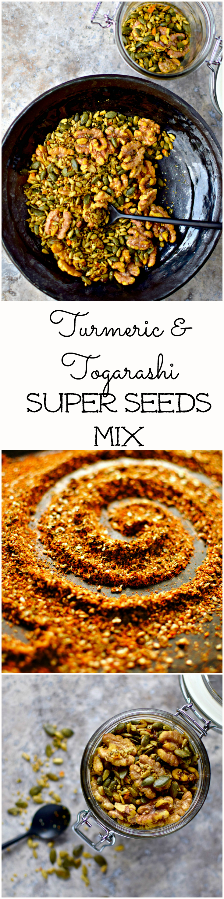 A kind of savory granola minus the oats, this turmeric and togarashi super seed mix is wonderful straight out of a jar, swirled into yogurt and sprinkled over all kinds of savory dishes. A super-easy paleo, sugar-free and vegan recipe.