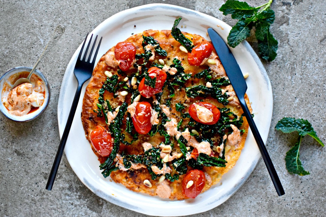 Weeknight pancake supper made healthy with kale, quinoa, tomatoes and tomato pesto. Naturally vegan and gluten-free.