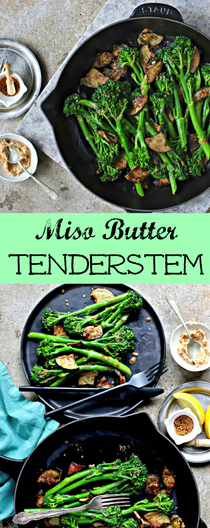 A simple but spectacular side dish featuring Tenderstem®, pan-fried aubergine and a Japanese spiced miso-butter. A quick and easy vegetable recipe to go with fish, tofu and any east Asian meal.