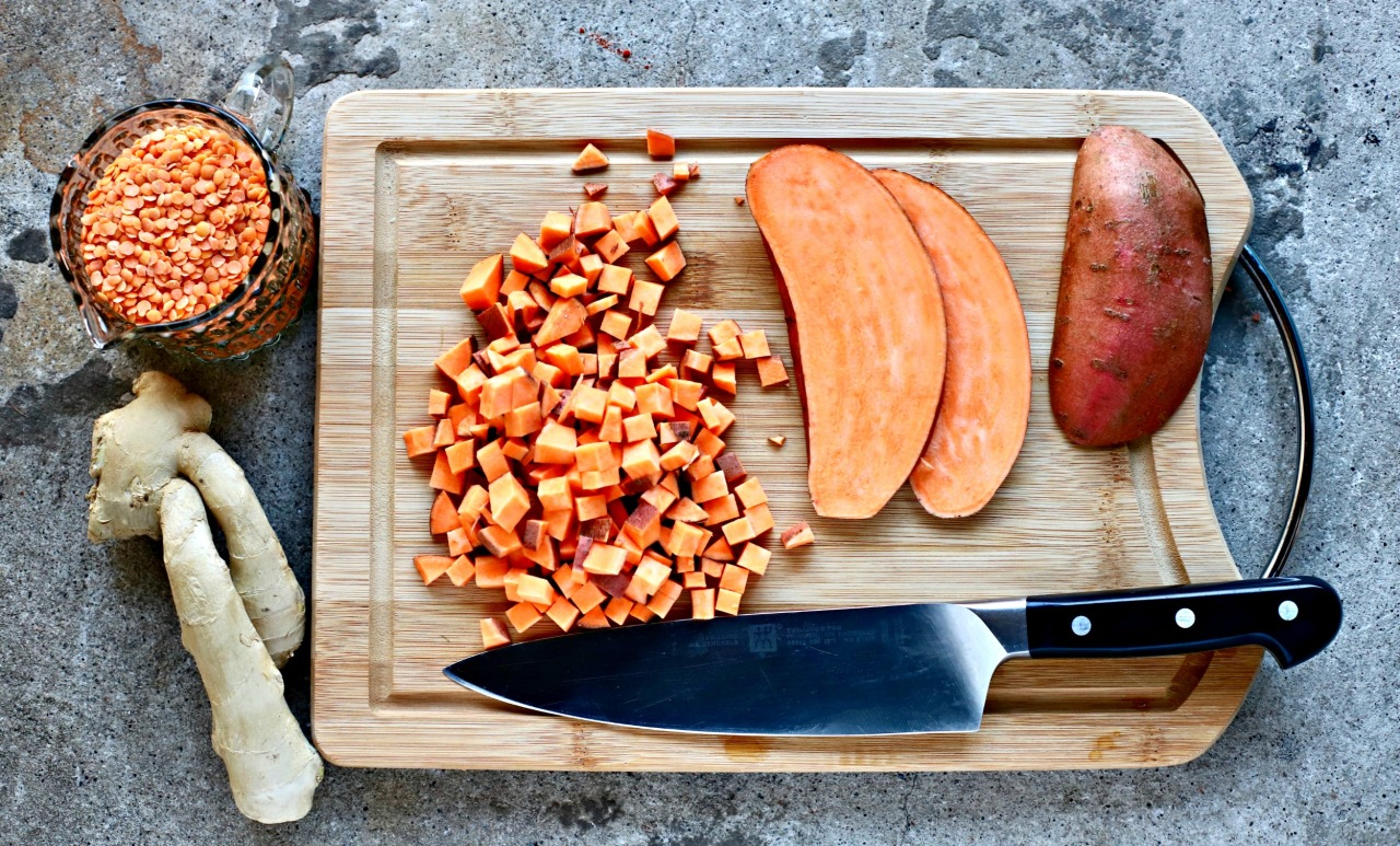 sweet potato halved and diced, lentils, ginger